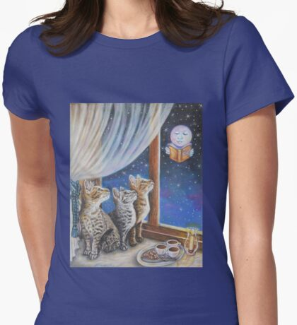 Whimsical Cat Painting -  Moon Tales Womens Fitted T-Shirt