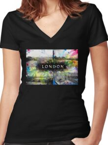 London Skyline View Collage  Women's Fitted V-Neck T-Shirt