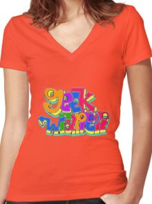 geek wrapper geeky letters Women's Fitted V-Neck T-Shirt