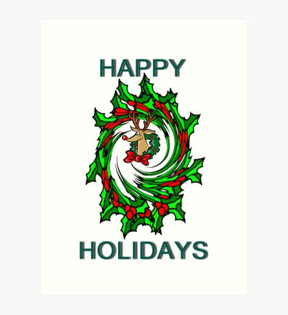 Happy Holidays Twisted Holly Wreath With Rudolph Christmas Card Art Print