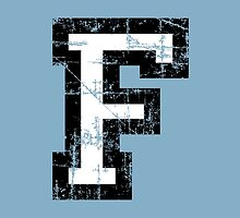 Letter F (Distressed) two-color black/white character by theshirtshops