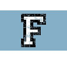Letter F (Distressed) two-color black/white character Photographic Print