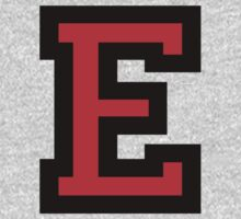 Letter E Black Red Character Kids Clothes