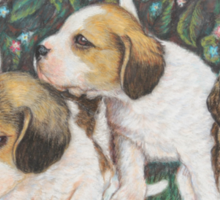 Dog Art - Puppies and Roses Sticker