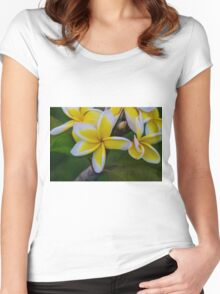 Yellow & White Women's Fitted Scoop T-Shirt