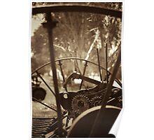 Rusting farm equipment - sepia Poster