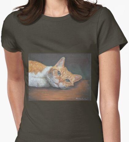 Cat Art - Orange Tabby Cat - Do not disturb me, please Womens Fitted T-Shirt