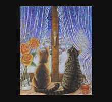 Cat Art - Cats Watching the Snow Fall Hoodie