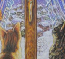 Cat Art - Cats Watching the Snow Fall Sticker
