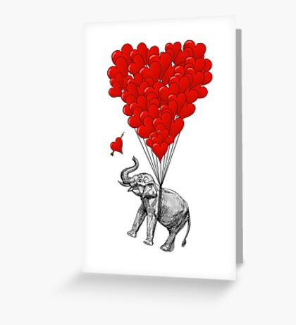 Elephant and red heart balloons Greeting Card