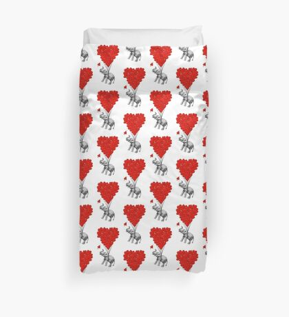 Elephant and red heart balloons Duvet Cover