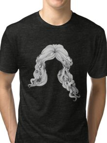 Curly hair style in black and white Tri-blend T-Shirt