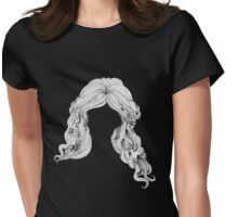 Curly hair style in black and white Womens Fitted T-Shirt
