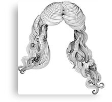 Curly hair style in black and white 2 Canvas Print