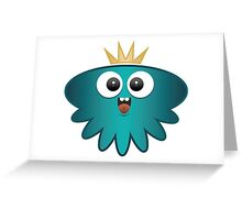 Little Jellyfish Alien in Turquoise Greeting Card