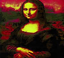 Mona Lisa inverted and colourised by RedBubbleWrap