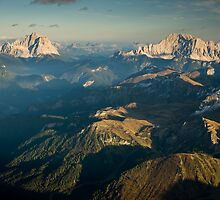 view from piz boe at sunset by peterwey