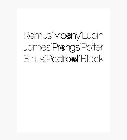 MoonyPadfootProngs(black) Photographic Print