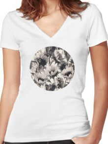 Sunflowers in Soft Sepia Women's Fitted V-Neck T-Shirt