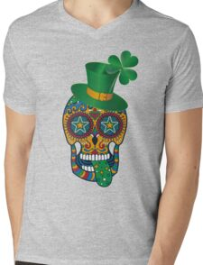 Irish Sugar Skull Mens V-Neck T-Shirt