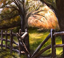 Broken and Vulnerable--Split Rail Fence in Historic Falmouth, Virginia (Revised 36x48 acrylic) by Lynn  Abbott