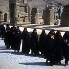 Group of veiled Iranian women touring the ruins of Persepolis by cascoly