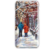 COUPLE WALKING IN VERDUN WINTER SCENE CANADIAN ART iPhone Case/Skin