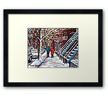 COUPLE WALKING IN VERDUN WINTER SCENE CANADIAN ART Framed Print