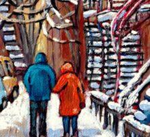 COUPLE WALKING IN VERDUN WINTER SCENE CANADIAN ART Sticker