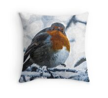 Artwork - Robin in the Snow Throw Pillow