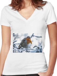 Artwork - Robin in the Snow Women's Fitted V-Neck T-Shirt