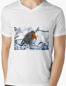 Artwork - Robin in the Snow Mens V-Neck T-Shirt