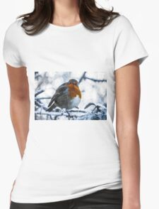 Artwork - Robin in the Snow Womens Fitted T-Shirt