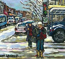 BEST MONTREAL PAINTINGS CROSSING COTE ST. CATHERINE MONTREAL ART by Carole  Spandau