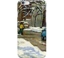 CANADIAN URBAN CITY WINTER SCENE MONTREAL PAINTING iPhone Case/Skin