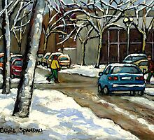 CANADIAN URBAN CITY WINTER SCENE MONTREAL PAINTING by Carole  Spandau