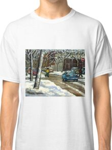 CANADIAN URBAN CITY WINTER SCENE MONTREAL PAINTING Classic T-Shirt