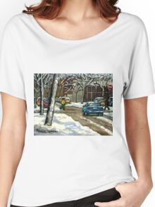 CANADIAN URBAN CITY WINTER SCENE MONTREAL PAINTING Women's Relaxed Fit T-Shirt