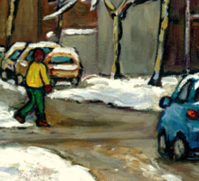 CANADIAN URBAN CITY WINTER SCENE MONTREAL PAINTING Sticker