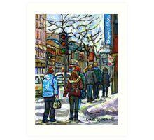 CANADIAN WINTER CITY SCENE DOWNTOWN MONTREAL Art Print