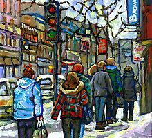 CANADIAN WINTER CITY SCENE DOWNTOWN MONTREAL by Carole  Spandau
