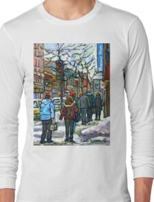 CANADIAN WINTER CITY SCENE DOWNTOWN MONTREAL Long Sleeve T-Shirt