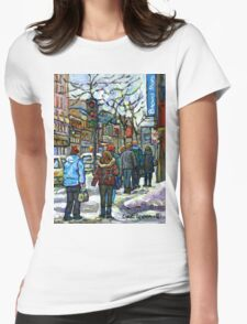 CANADIAN WINTER CITY SCENE DOWNTOWN MONTREAL Womens Fitted T-Shirt