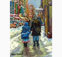 BEST MONTREAL PAINTINGS WINTER URBAN SCENES MONTREAL Unisex T-Shirt