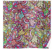 Hand drawn abstract background ornament color pattern Poster
