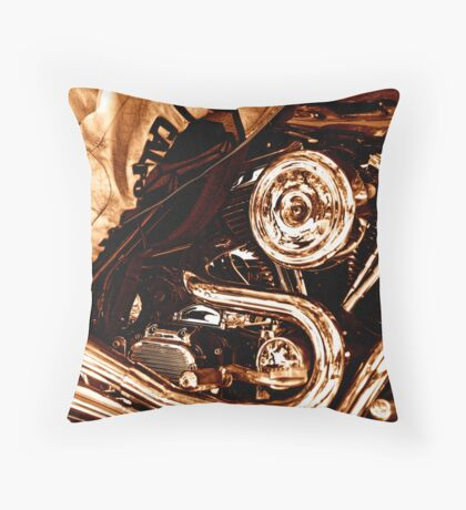 Leather and Chrome Throw Pillow