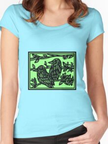 Assemblage Bird Green Black Women's Fitted Scoop T-Shirt