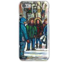 MONTREAL ART PAINTINGS MONTREAL DOWNTOWN WINTER SCENE iPhone Case/Skin