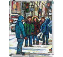 MONTREAL ART PAINTINGS MONTREAL DOWNTOWN WINTER SCENE iPad Case/Skin
