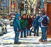 MONTREAL ART PAINTINGS MONTREAL DOWNTOWN WINTER SCENE by Carole  Spandau